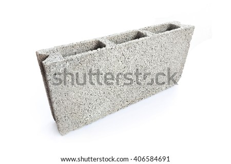 Concrete block isolated on white background - stock photo
