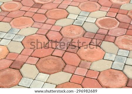 Concrete block pathway - stock photo