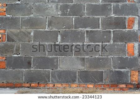 Concrete block wall - stock photo