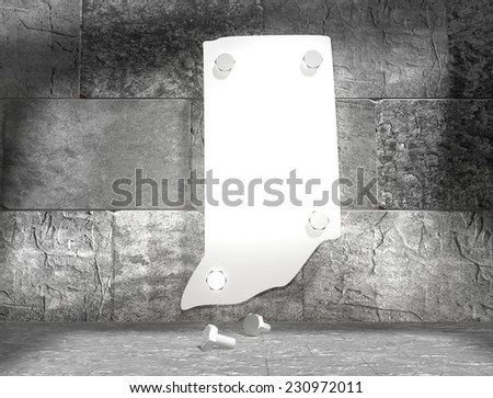 concrete blocks empty room with clear outline indiana state map attached to wall by bolts - stock photo