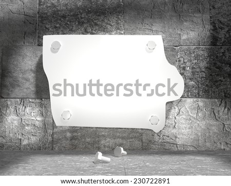 concrete blocks empty room with clear outline iowa state map attached to wall by bolts - stock photo