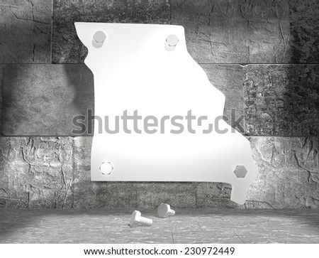 concrete blocks empty room with clear outline missouri state map attached to wall by bolts - stock photo