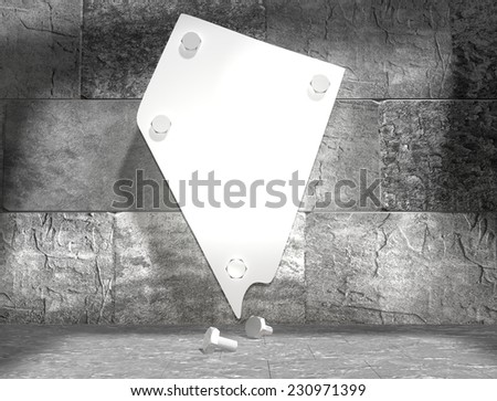 concrete blocks empty room with clear outline nevada state map attached to wall by bolts - stock photo