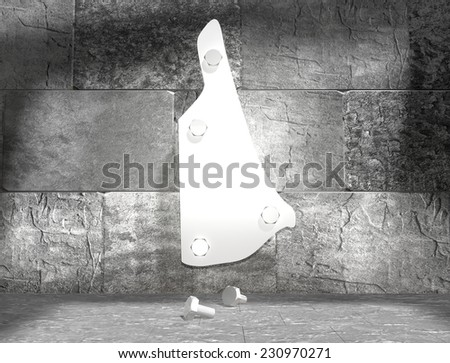 concrete blocks empty room with clear outline new hampshire state map attached to wall by bolts - stock photo
