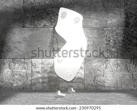 concrete blocks empty room with clear outline new jersey state map attached to wall by bolts - stock photo
