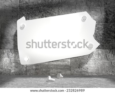 concrete blocks empty room with clear outline pennsylvania state map attached to wall by bolts - stock photo