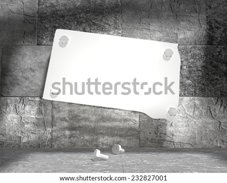 concrete blocks empty room with clear outline south dakota state map attached to wall by bolts - stock photo