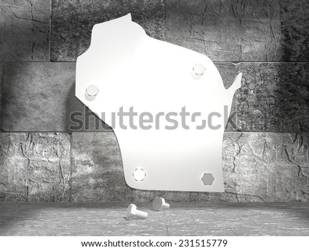 concrete blocks empty room with clear outline wisconsin state map attached to wall by bolts - stock photo