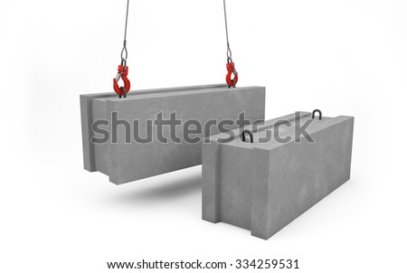 Concrete blocks for construction lifted up with crane isolated on white with clipping path  - stock photo