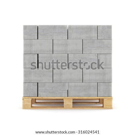 Concrete blocks on wooden pallet. isolated on white background - stock photo