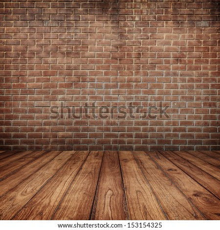 Concrete brick walls and wood floor for text and background - stock photo