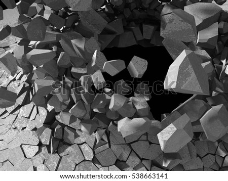 Concrete chaotic explosion demolition abstract background. 3d render illustration