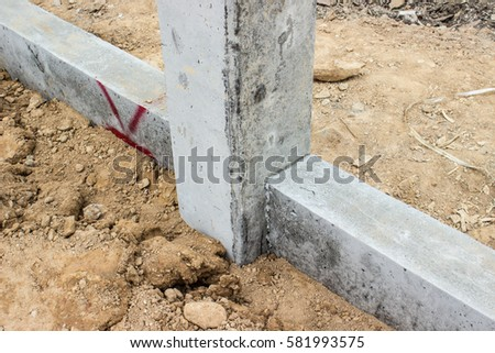 Concrete foundation stock images royalty free images for Concrete pillars for foundation