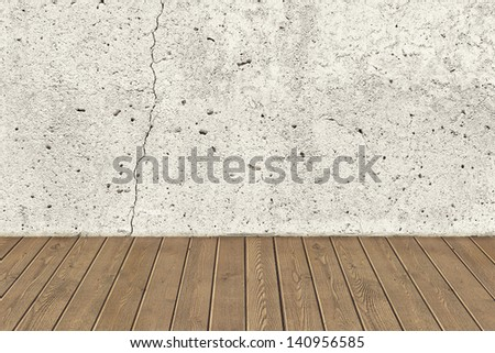 Concrete crack wall and brown hardwood floor - stock photo