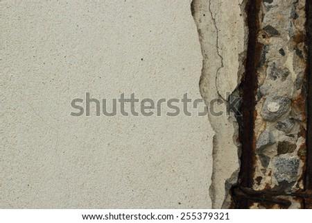Concrete cracking becuase rust metal - stock photo