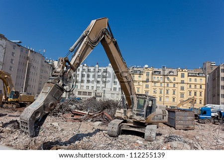 Concrete crushing and dismantling machine - stock photo