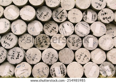 Concrete cylinder. Put wait for application.Used color tool for soft tone. - stock photo