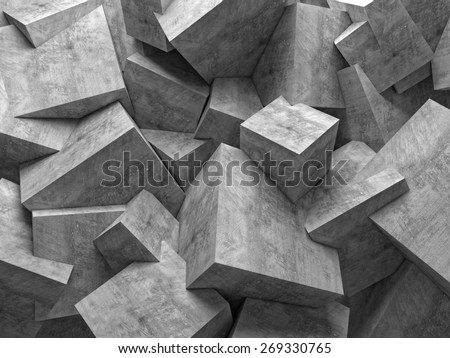 concrete 3d cube wall background - stock photo