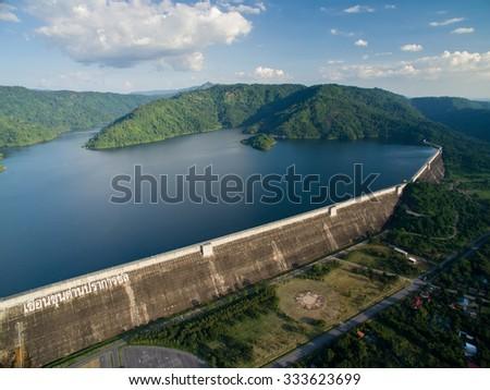 Concrete dam in thailand - stock photo