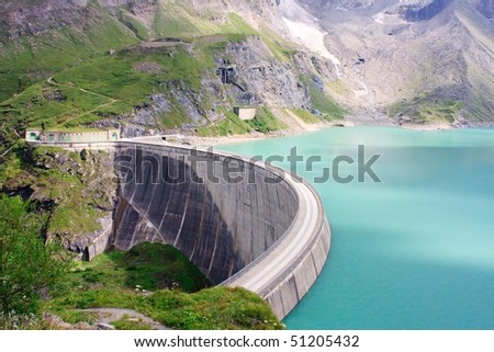 Concrete dam wall of Kaprun power plant (no people), Salzburg Alps, Austria - stock photo