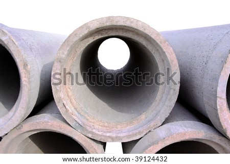 concrete drainage pipes with isolated background - stock photo