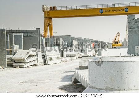 Concrete elements pictured on concrete factory. - stock photo
