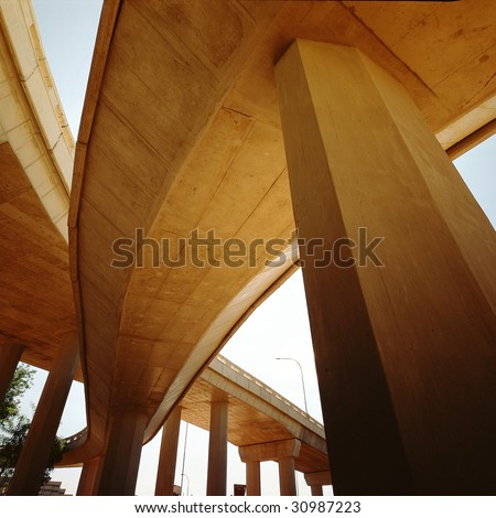 Concrete highway overpass - stock photo