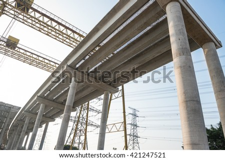 concrete highway under construction - stock photo