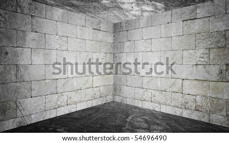 concrete interior - room corner - stock photo