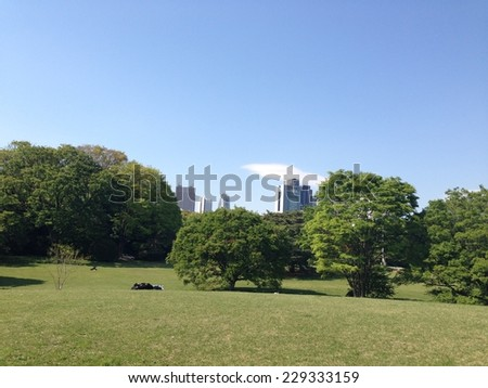Concrete jungle surrounded by green trees/ Tokyo recreation park/ Peace of mind - stock photo