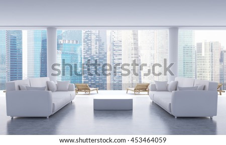 Concrete lounge interior with small coffee table, two sofas and chaise longues on Singapore city background. 3D Rendering - stock photo
