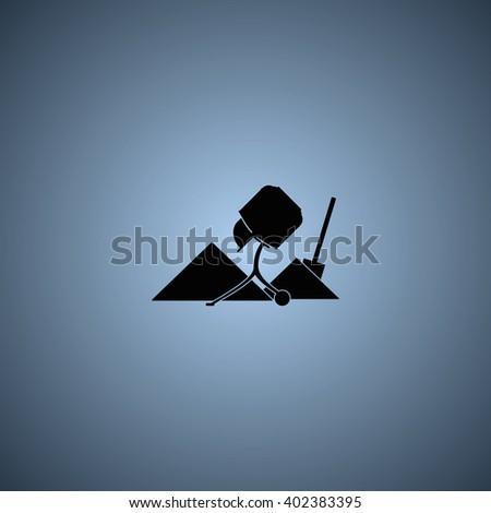 Concrete mixer and shovel icon. - stock photo