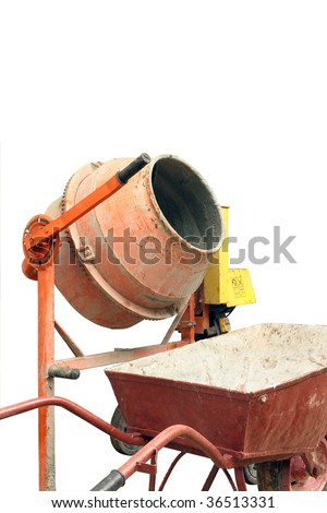 Concrete mixer and wheelbarrow isolated on white.