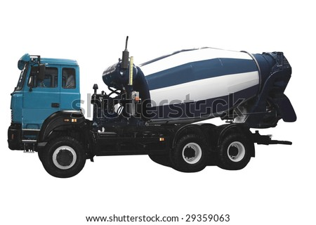 Concrete mixer isolated over white background - stock photo