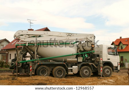 Concrete mixer truck. Construction industry heavy vehicle.