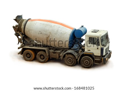 Concrete Mixer Truck on a white background, close up. - stock photo