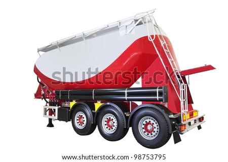 Concrete mixer truck semi-trailer - stock photo
