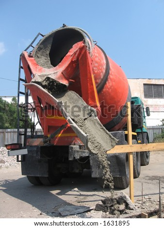 Concrete mixer working