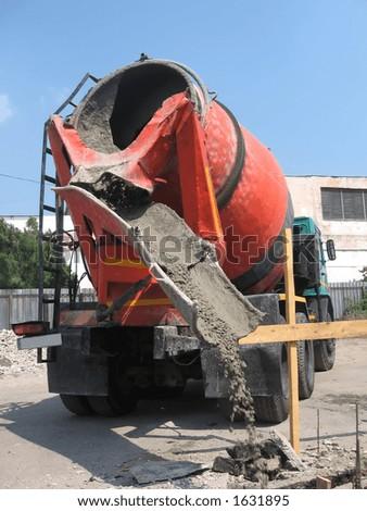 Concrete mixer working - stock photo