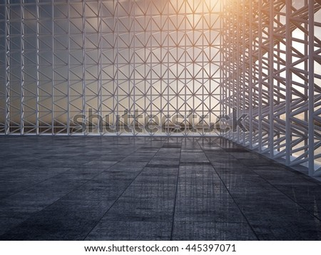 Concrete modern architecture car background 3D rendering