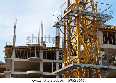 Concrete modern building under construction - stock photo
