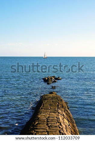 concrete pier in ocean. Melbourne.Australia - stock photo