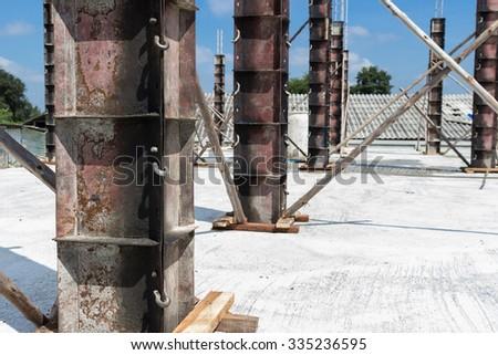 Concrete pillar construction in site - stock photo