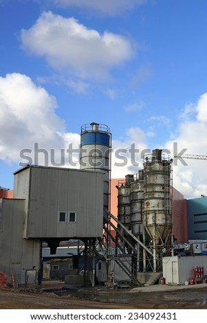 Concrete plant in an industrial zone. - stock photo