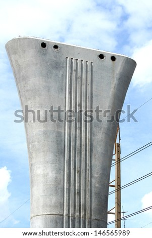 Concrete pole of electrical railway - stock photo