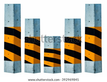 concrete poles isolated on white background. - stock photo