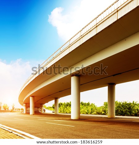 concrete road curve of viaduct in shanghai china outdoor. - stock photo