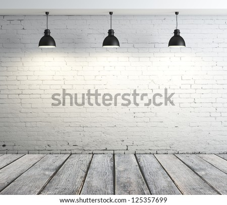 concrete room with three ceiling lamps - stock photo