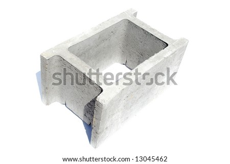 Concrete shuttering block isolated on white background