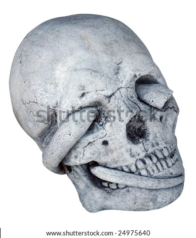 Concrete Skull with Snake through Eye Socket isolated with clipping path - stock photo